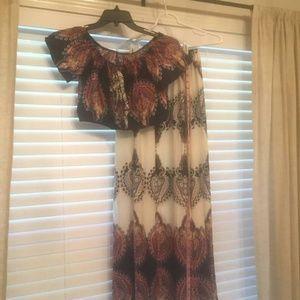 Boho Maxi Skirt & Crop Top 2 piece Set Medium